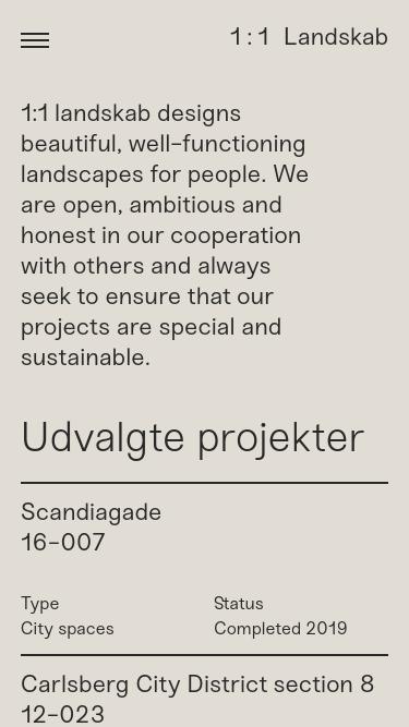 1 : 1 Landskab mobile website