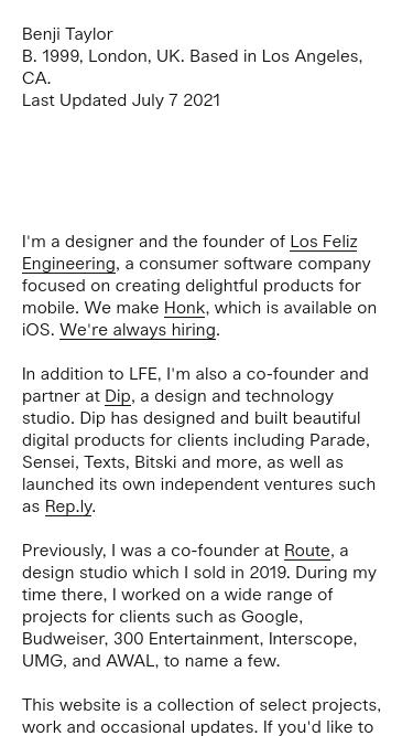 Benji Taylor mobile website