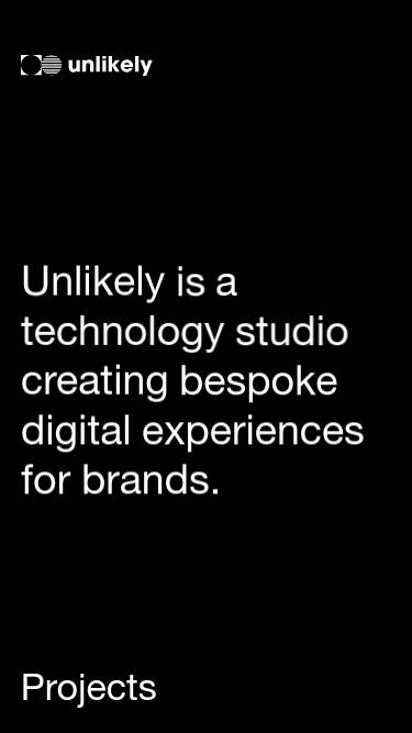 Unlikely Studio mobile website