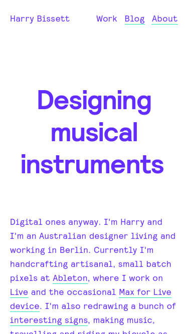 Harry Bissett mobile website