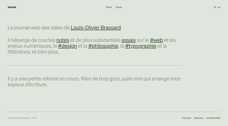 Le journal de Louis-Olivier Brassard website