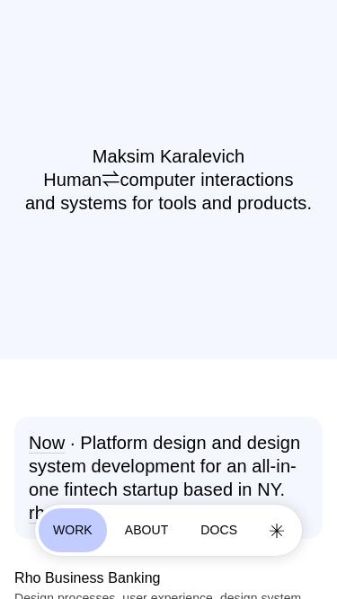 Maksim Karalevich mobile website