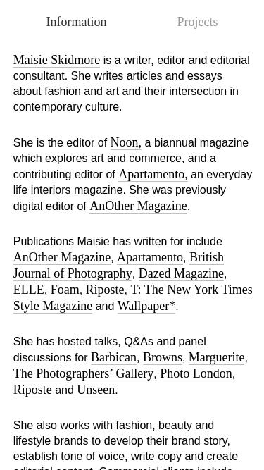 Maisie Skidmore mobile website