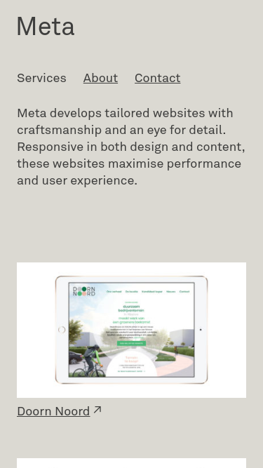 Meta Development mobile website