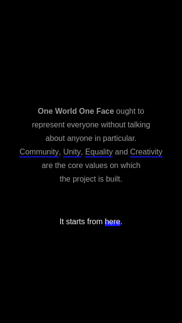 One World One Face mobile website