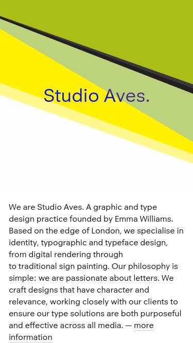 Studio Aves mobile website