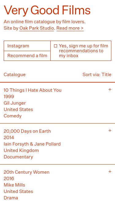 Very Good Films mobile website