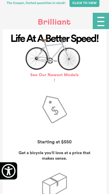 Brilliant Bicycles mobile website