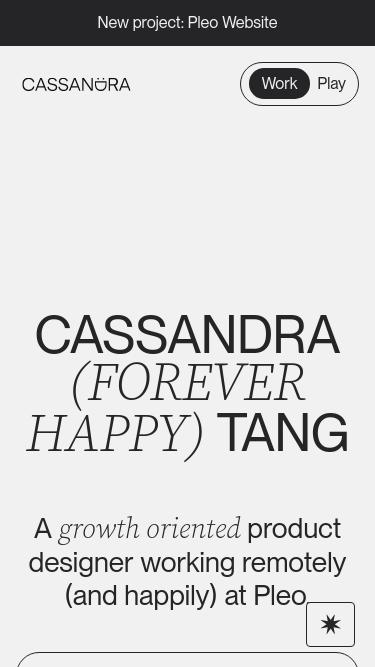 Cassandra Tang mobile website
