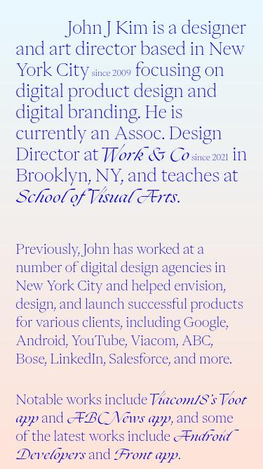 John Jung Kim mobile website