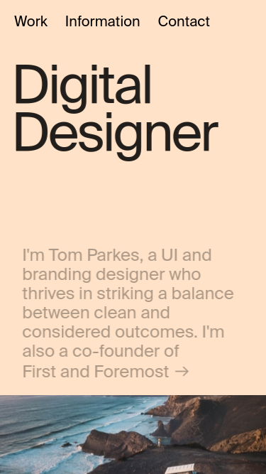 Tom Parkes mobile website