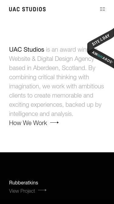 UAC Studios mobile website